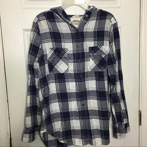 Blue and White Hooded Flannel